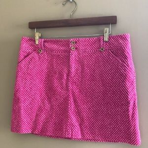 Lilly Pulitzer Pink Chevron Corduroy Mini Skirt